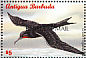 Magnificent Frigatebird Fregata magnificens  1998 Overprint BARBUDA MAIL on Antigua & B 1996.03