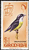 Bananaquit Coereba flaveola  1974 Overprint GRENADINES on Grenada 1968.01, 1969.01-2