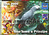 Grey Parrot Psittacus erithacus  2006 Anniversary overprint on 2004.02 9v sheet, silver ovp