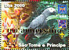 Grey Parrot Psittacus erithacus  2006 Anniversary overprint on 2004.02 9v sheet, gold ovp