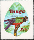Maroon Shining Parrot Prosopeia tabuensis  1978 Conservation of endangered species 10v set, sa